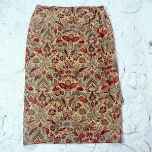 Talbots Petites Sz 14 Wool Wrap Skirt Long Floral